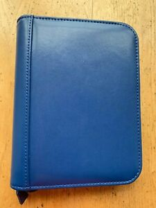 Franklin Covey Signature Leather Zipper Compact Planner Binder Blue 6 1 25