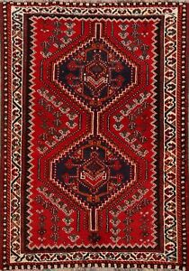 Tribal Geometric Abadeh Red Wool Area Rug Hand Knotted Oriental Foyer Carpet 3x5