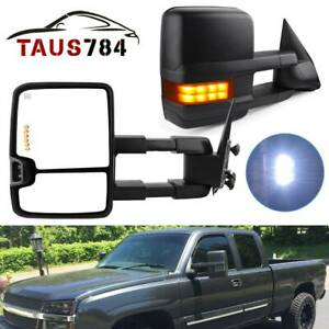 Tow Mirrors Power Heated Smoke Turn Signals Led For 2003 2007 Chevy Silverado