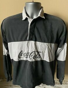 Vintage Men's Medium Coca Cola Rugby Gray Coke Long Sleeve Spell Out Polo Shirt