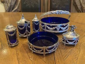 Beautiful Repousse Sterling Silver Serving With Cobalt Glass Liner 6 Pieces