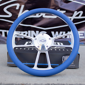 14 Billet Steering Wheel For Chevy Blue Wrap And Chevy Horn Button