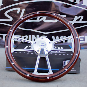 14 Billet Steering Wheel For Chevy Mahogany With Rivets And Chevy Horn Button
