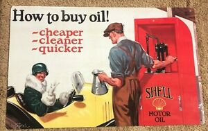 HOW TO BUY OIL SHELL MOTOR OIL 11 x 17 Metal Sign CAR AUTO TRUCK GARAGE MECHANIC