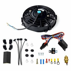 7 electric Radiator Fan High 600 cfm Thermostat Wiring Switch Relay Kit Black