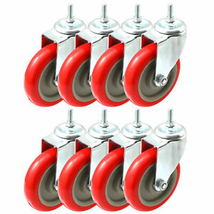 Pack Of 8 Caster Wheels Swivel Plate On Red Polyurethane Wheels 5 With Stem