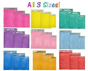 All 3 Sizes Assorted 8 5x12 6x9 4x8 Colored Poly Bubble Padded Mailers New