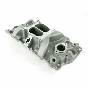 Intake Manifold Chevy Small Block Carb Aluminum Dual Plane Satin