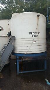 2000 Gallon Plastic Process Tank On Stand With Cone Bottom