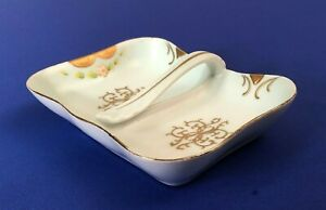 Antique Chine De Charme Hand Painted Divided Dish Robin Egg Blue W Gold Trim