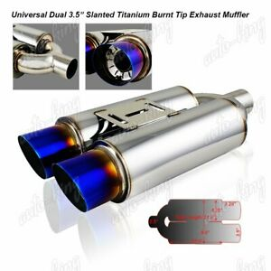 3 5 Dual Slant Burnt Tip 2 5 Inlet Stainless Exhaust Weld on Muffler Universal