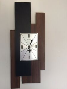 Vintage Good Working Verichron Multi Layered Abstract Modernistic Wall Clock