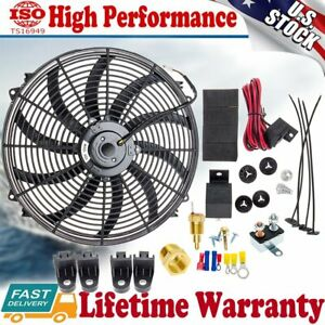 16 Inch Electric Radiator Cooling Fan High Cfm Thermostat Relay Switch Kit 12v