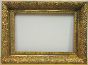 Antique American Victorian C1880 Deep Wide Gold Picture Frame 12 X 18