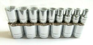 Sk Tools 15 Piece 1 2 Drive 12 Point Standard Fractional Chrome Socket Set 4122