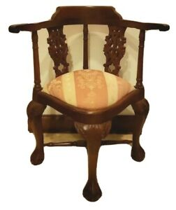 Chippendale Style Ball Claw Carved Mahogany Corner Chair Rococo Revival Style