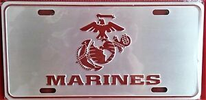 Nwt Marines Silver Novelty License Plate Red Eagle Globe Anchor 5 88 T 11 75 W
