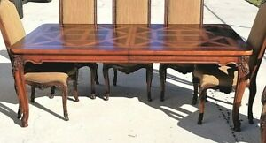 Henredon French Provincial Mahogany Parquet Burl Wood Dining Table Only W Leaf