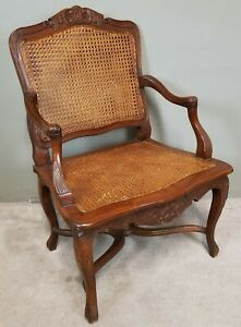 Antique Louis Xv French Provincial Double Cane Walnut Armchair Accent Chair