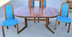 Vtg 6 Pc Mcm Skovby M Belfabrik Solid Teak Dining Table 5 Chairs Denmark