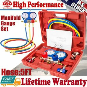 Ac Manifold Gauge Set Refrigeration R22 R12 R134a R410a W hoses Coupler Adapter