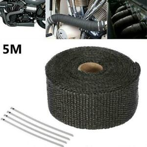 5m Car Turbo Exhaust Pipe Muffler Insulation Heat Wrap Tape Lagging White Ties