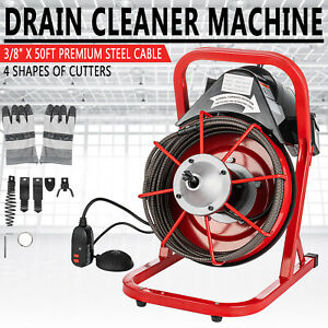 Commercial 50ft 3 8 Electric Drain Auger Drain Cleaner Machine Snake Sewer