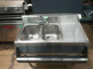Krowne Commercial 2 compartment Bar Sink With Speed Rail