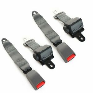 2sets 2 Point Fixed Safety Belt Lap Strap Seat Belt Clip Grey Retractable