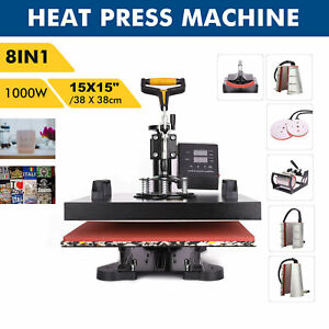 8 In1 T shirt Cap Plate Mug Heat Press Machine 15x15 Digital Transfer Printer