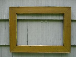 Antique Solid Oak Gold Painted Wood Picture Frame Fits 14 1 2 X 21 1 2