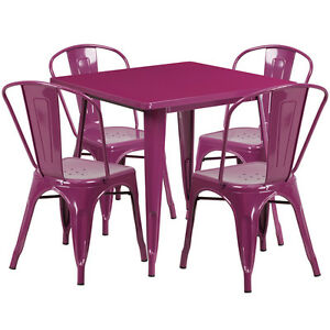 31 5 Industrial Purple Metal Outdoor Restaurant Table Set W 4 Chairs