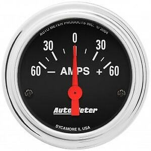 Autometer 2586 2 1 16 In Ammeter Gauge 60 0 60 Amps Traditional Chrome Black