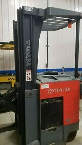 Toyota 7bru18 Stand Up Reach Forklift 3 500lb Capacity