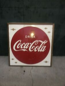 "Coca Cola 1940's -50's Metal Advertising Sign 36""x36"" Drink Coca Cola Button"