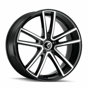 Package 5 18x8 Kraze 190 Et 40 Black Machine 5x114 3 Wheels Rims