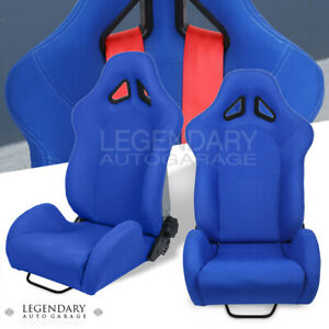 Adjustable Blue Cloth Bucket Racing Seat Pair W Sliders Fully Reclinable