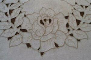 Vintage Ecru Linen Tablecloth Cutwork Embroidered Roses 73