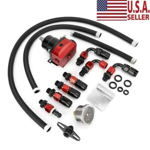Black Red Adjustable Fuel Pressure Regulator Kit Oil 0 100psi Gauge 6an New Us