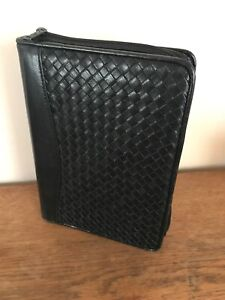 Vintage Scully Black Woven Leather Classic Planner Binder Organizer 1 25 Ring