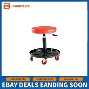 Rolling Mechanics Stool Swivel Garage Work Shop Seat Pneumatic Adjustable Chair