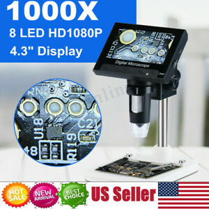 1000x Zoom Digital Video Electronic Microscope Hd 720p 8led W 4 3 Lcd Screen