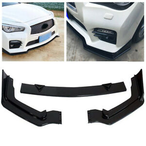 Front Bumper Lip Spoiler Splitter For 2014 2017 Infiniti Q50 Painted Gloss Black