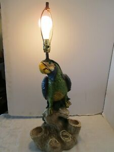 Vintage Big Chalkware Colorful Parrot Bird Table Lamp Signed 31 t Heavy 1960 s