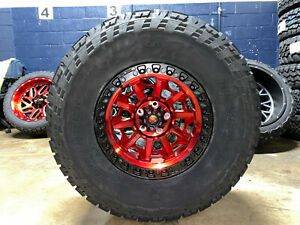 17x9 Fuel D695 Covert Red Wheels Rims 35 General At Tires Jeep Wrangler Jk Jl