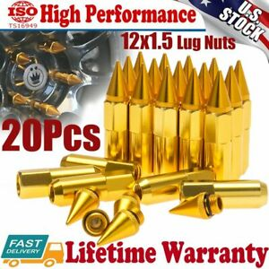 20pcs Gold Spike Lug Nuts 12x1 5 Cap Extended Tuner Aluminum Wheels Rims Yellow