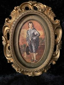 Vintage Very Ornate Gold Gilt Resin Oval Picture Frame Victorian Man W Glass