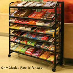 Floor Standing Metal Mobile Display Rack With 5 Shelves 48 W Inches
