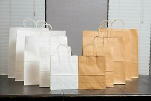 All Colors Sizes Kraft Paper Handle Gift Favors Shopping Retail Party Bags Lot