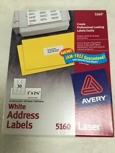 Avery White Address Labels Laser 5160 3000 Labels Fast Shipping New Nos